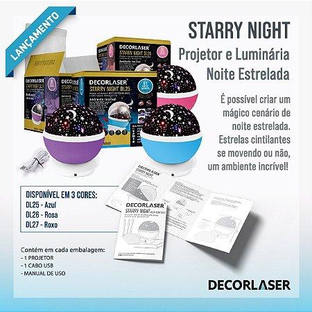 LUMINÁRIA ABAJUR GIRA PROJETOR ESTRELAS LED STARRY NIGHT ESTRELAS RGB