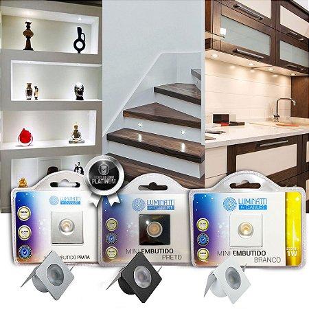 Mini Luminárias Embutidas Led 1w Iluminação Armarios Etc
