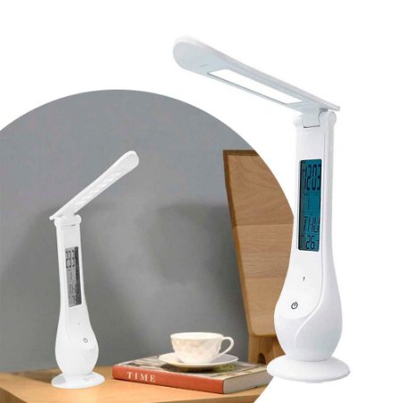 Luminária Abajur Led Relógio E Alarme Digital Recarregável