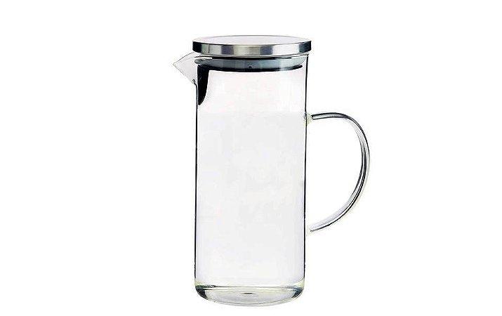 Jarra em vidro com tampa prateada Borossilicato 1,3L Mimo