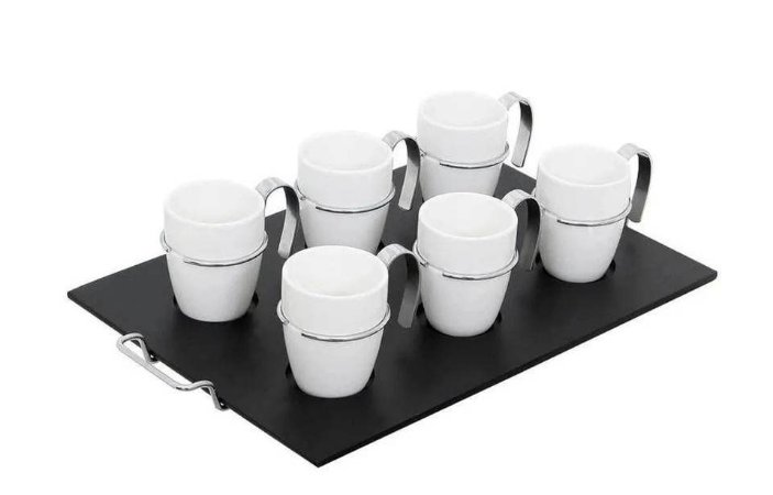 Jogo em Porcelana com 6 Xícaras de Café Metal Rojemac