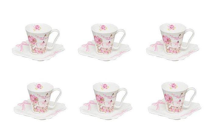 Jogo de Xícaras para Café com Pires em Porcelana Wedding 100ml Rojemac