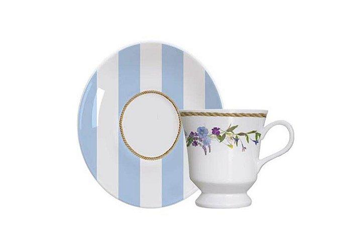 Xícara em Porcelana para Café com Pires Floral Chic 80ml Germer