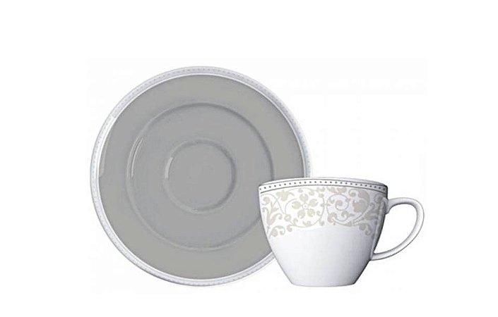 Xícara em Porcelana para Café com Pires 85 ml Pérola Germer
