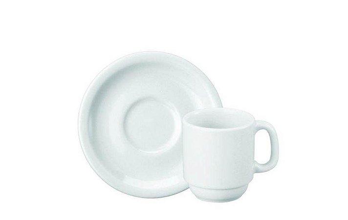 Xícara em Porcelana para Café com Pires Cilindrica 80ml Schmidt