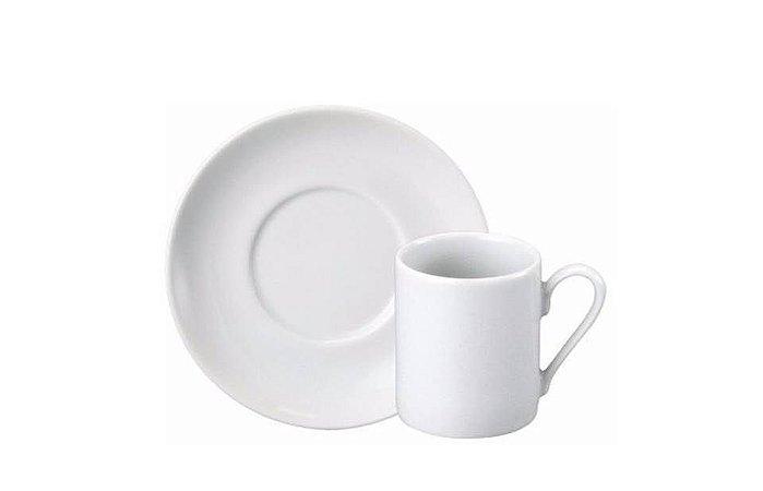Xícara em Porcelana para Café com Pires Branca 60ml Schmidt