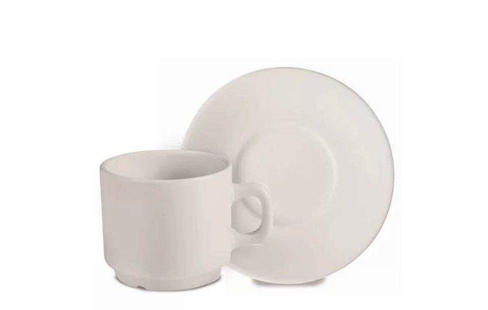 Xícara em Porcelana para Café com Pires 100ml Corona
