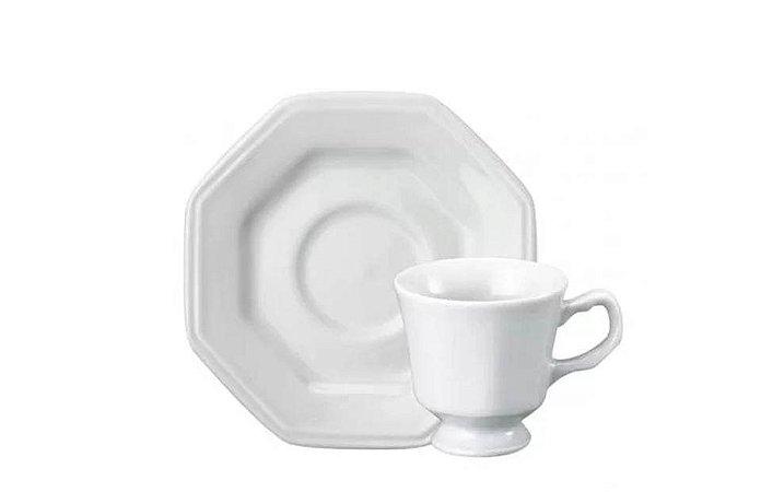Xícara em Porcelana para Café com Pires Prisma 60mL Schmidt