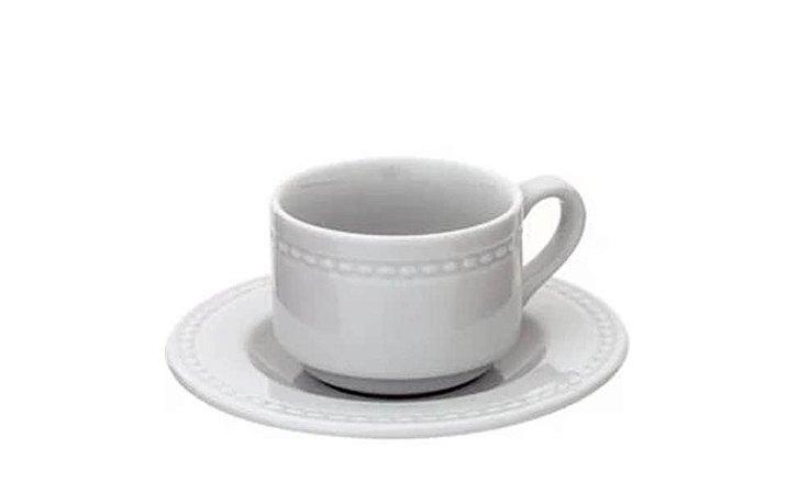 Xícara em Porcelana para  Café  com Pires  Perla  Vista Alegra