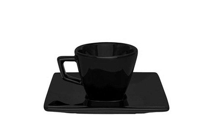 Xícara em Porcelana para Cafezinho com Pires  75ml Black Oxford
