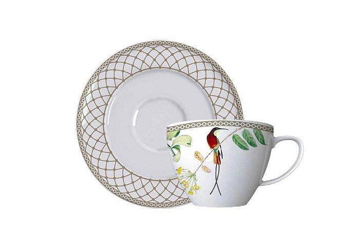 Xícara em Porcelana para  Chá com Pires  Bela Fauna