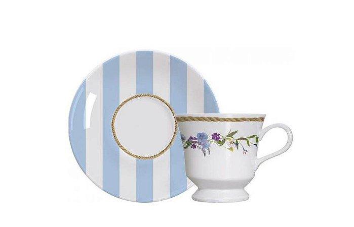 Xícara em Porcelana para  Chá com Pires  80ml Floral Chic  Germer