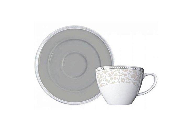 Xícara em Porcelana para Chá com Pires Peróla 215mL Germer