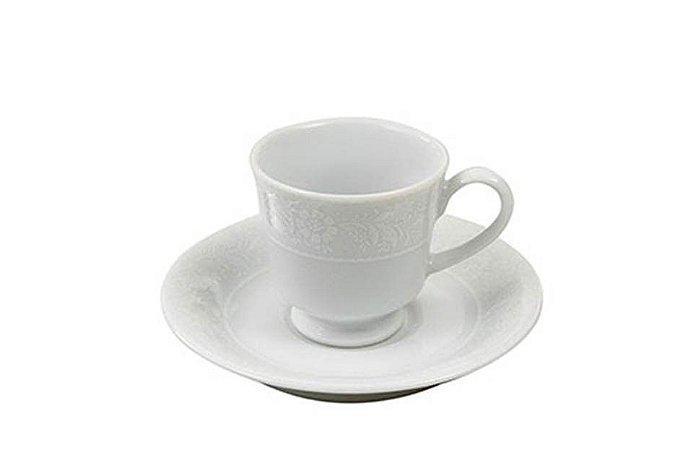 Xícara em Porcelana para  Chá com Pires Noiva  Schmidt