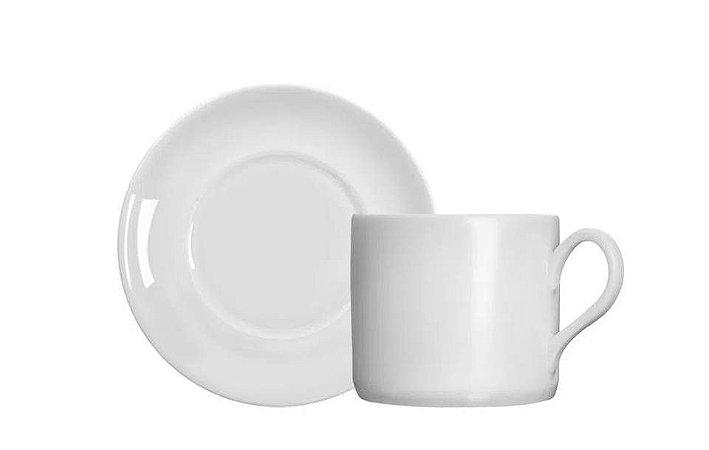 Xícara em Porcelana para Chá com Pires Brasília Branca 1º Germer
