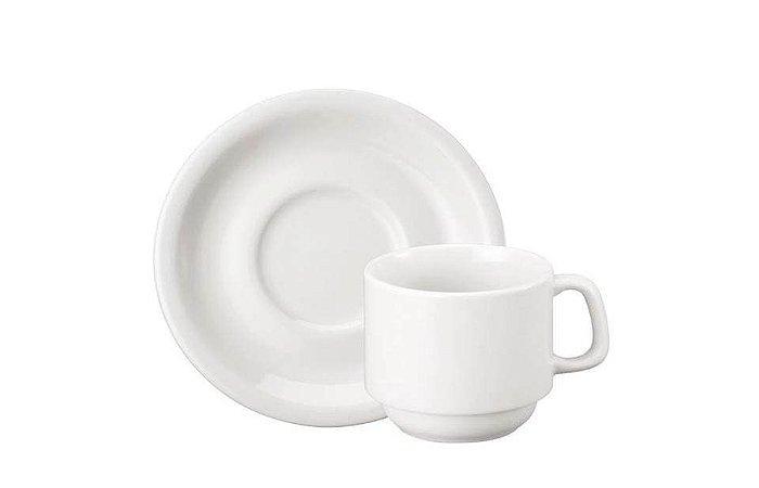 Xícara em Porcelana para Chá com Pires Cilíndrica 200mL Schmidt