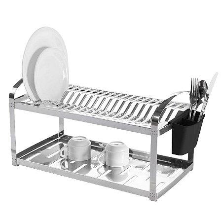 Escorredor 20 pratos Montado com Porta Talheres em Aço Inox Mak Inox