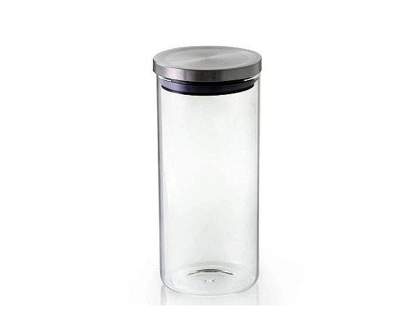Pote Hermético em Vidro Borossilicato com Tampa Inox 1Lt  Mimo Style