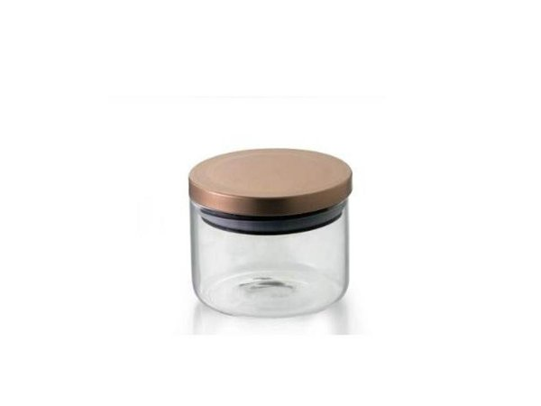 Pote Hermético em Vidro Borosilicato com tampa bronze cobre 370ml  Mimo Style