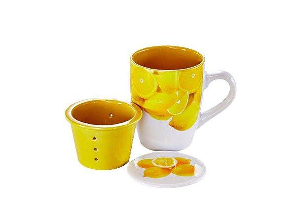 Caneca em Porcelana com Infusor Limão 330ml Rojemac
