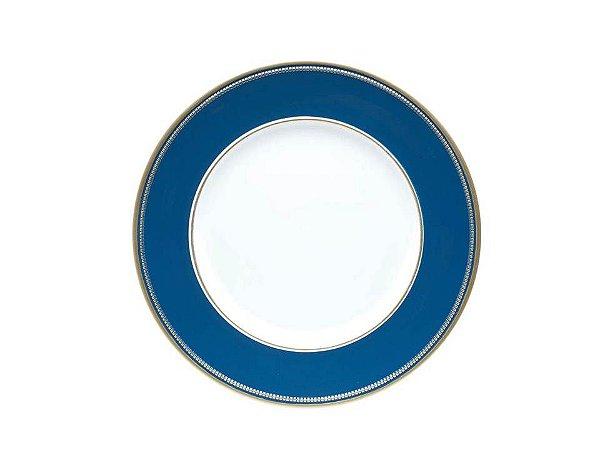 Sousplat em Plástico Azul com Dourado 33cm Rojemac