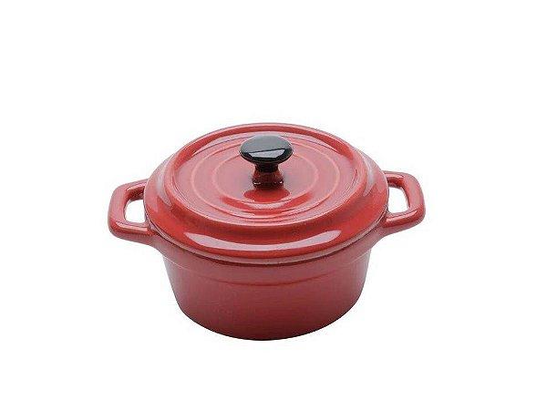 Mini Caçarola em Porcelana Black Lid Vermelho 13cm 150ml Bon Gourmet