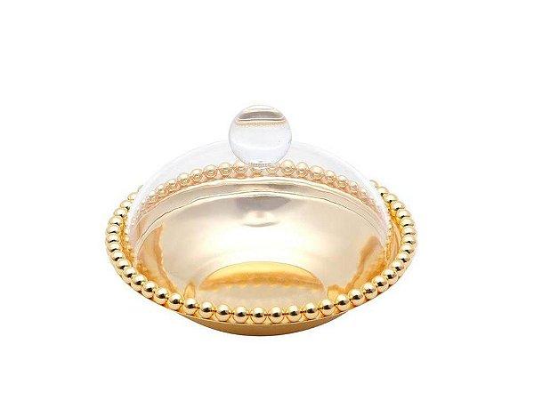 Bowl Dourado com Tampa em Acrílico de Zamac 16X10Cm Lyor