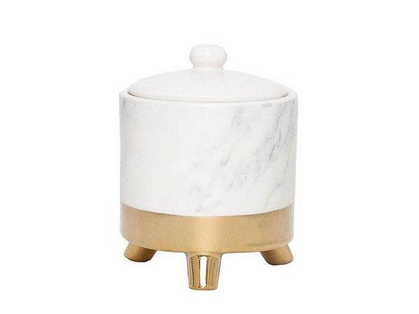 Potiche Decorativo em Porcelana Branco com Dourado Marble 10X12cm Rojemac