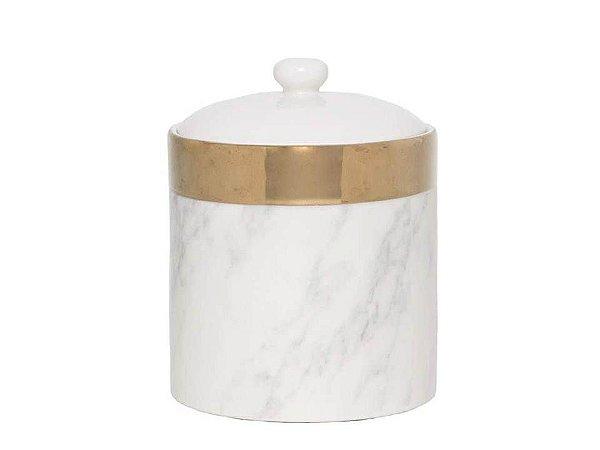 Potiche Decorativo em Porcelana Marble Branco e Dourado 12cm Rojemac