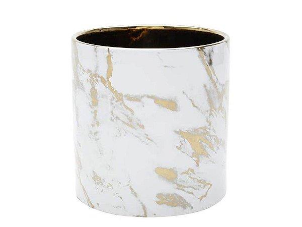 Vaso em Cerâmica Branco com Dourado 15cm Rojemac