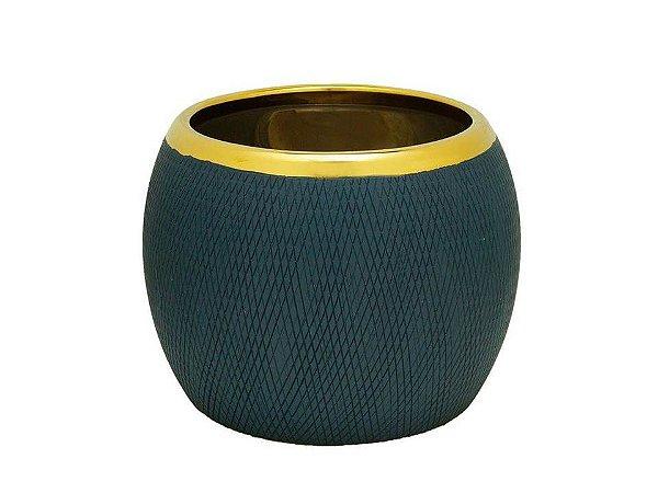 Vaso em Cerâmica Azul 15cm Rojemac