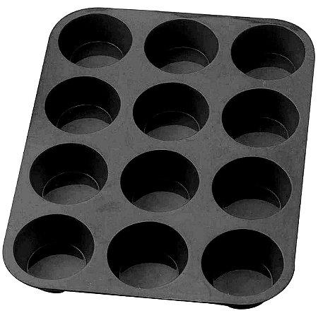 Forma de Silicone para Cupcakes 12 cavidades preta