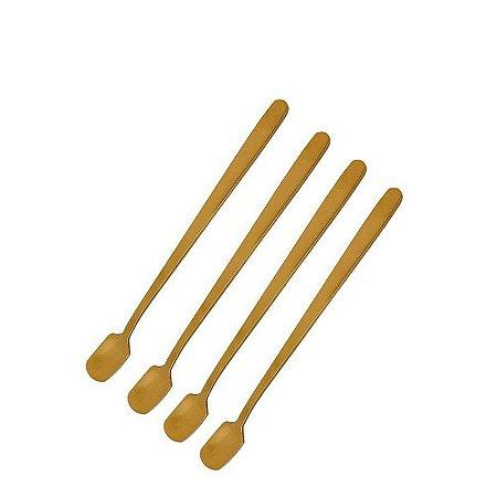 Jogo de Colheres Para Café Douradas Inox 15 cm 4 Peças