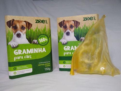 Kit 02 Graminha Cachorro Petisco Pet Grama Auxilia Digestao