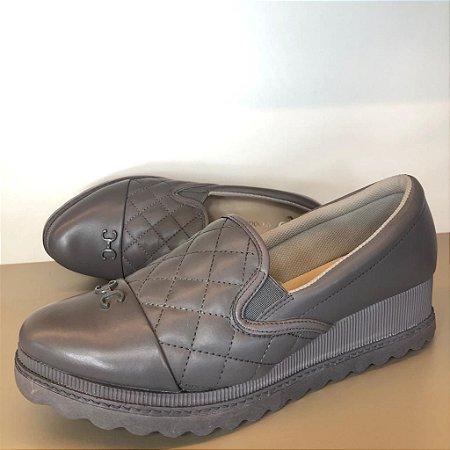 Sapato Couro Tecido Atanado Carbono