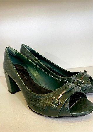 Sapato Couro Mestico Caseina Verde Turmalina