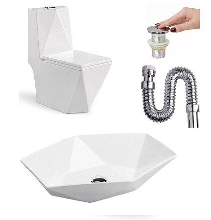 Kit Imperial Diamond Vaso Sanitário Cuba Válvula e Sifão
