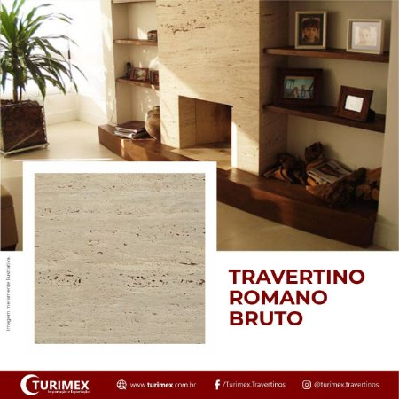 Recortado em Travertino Romano Bruto - 120cm x 120cm x 2cm