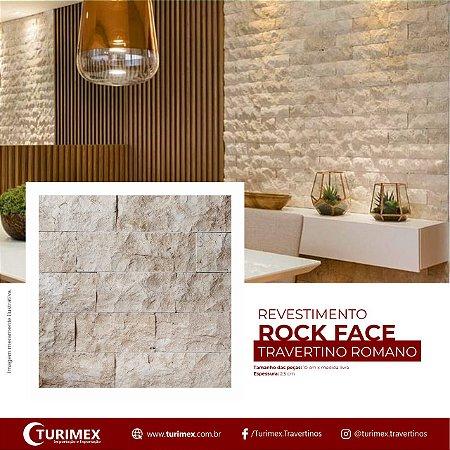 Revestimento Rockface em Travertino Romano - 10cm x FREE