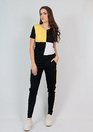 Conjunto Calça e Blusa Maria Paes Preto Branco e Amarelo