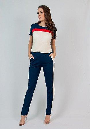 Conjunto Calça e Blusa Maria Paes Azul Marinho, Vermelho e Off White