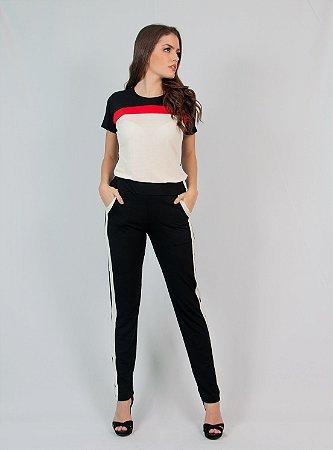 Conjunto Calça e Blusa Maria Paes Preto, Vermelho e Off White