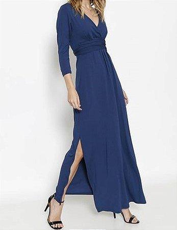 Vestido Longo Maria Paes Azul Marinho