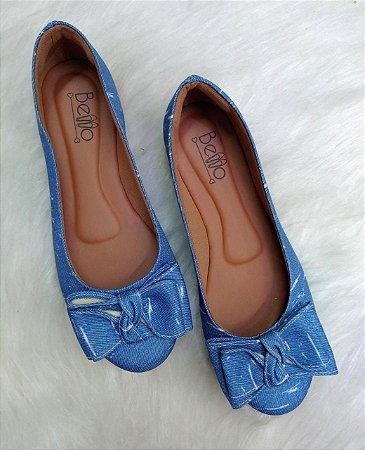 Sapatilha Redonda Jeans claro com Laço