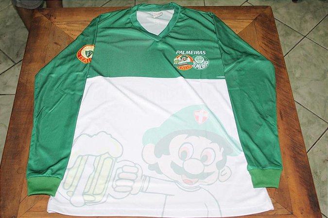 Camiseta Manga Longa Feminina verde e branca com mascote