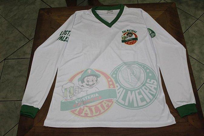 Camiseta Manga Longa Feminina branca com escudos
