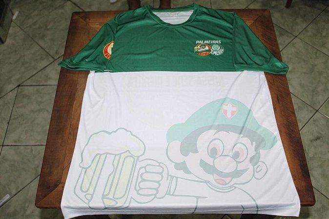 Camiseta Masculina Verde e Branca com mascote