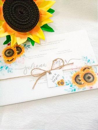 Convite de Casamento Floral Girassol