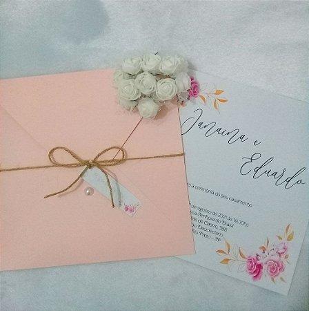 Convite de Casamento  Janaína e Eduardo Floral