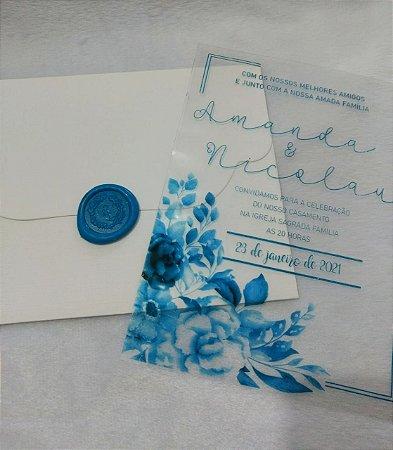 Convite de Casamento Transparência Amanda e Nicolau